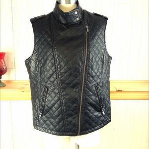 Apt 9 Women's XL Black Faux Leather Vest Quilted